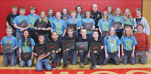 Pictured is the DARE class.  Standing: Miles Dise, Wesley Linke, Evan Ohlrogge, Megan Baysinger, Jessa Fischer, Kaylee White, Morgan Wolff, Carter Linke, Destiny White, Graceana Terkildsen, Officer Mark Johnson, Jenna Stephens, Mariah Jost, Ashlynn Larson, Taylor Lindsey and Mrs. Rosemarie Delvaux; kneeling: Megan Linke, Isabel Miller, Cage Boschee, Ely Garcia, Malachi Bruce, Zachary Kleinsasser, Weston Uttecht, Josie Weber, Brooklyn Swenson and Gail Kludt; not pictured: Taryn Ziebart and Sydney Gustin.