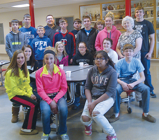 standing, left to right are: Jared Goldammer, Jonathan Linke, Nathan Linke, Mr. Rod Weber, Aaron Linke, Matt Terkildsen, Noah Bruce, Trent Feistner, Tayla Weber, Mrs. Pat Carsrud, librarian and Garrett Larson; seated: Alissa Ball, Callie Bezpaletz, Sydney Zeller, Tristan Ziebart, Ashleigh Fry, Diana Santiago, Abby Doering and Trey Weber; not pictured: Domnic Johnson, Joseph Howes, Lauren Johnson, Wyatt Feistner and Savannah Swenson.