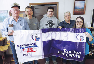 Shown are, from left: Don Andersen, John Paulson, Alec Schmidt, Dave Kogel (Woonsocket) and Relay For Life specialist Samantha Brunner, who made the award presentation.