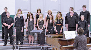 THE WOONSOCKET School mixed vocal group is pictured above. Left to right: Jonathan Linke, Dayna Opsahl, Alissa Ball, Abby Doering, Tayla Weber, Andrea Bravo, Colton Hotchkiss, Brady Tiede; front row: Riley Schmiedt, Rex Schlicht, Savannah Swenson, Tristan Ziebart, Ashlynne Terkildsen, Sydney Zeller, Shay Swenson and Nathan Linke.