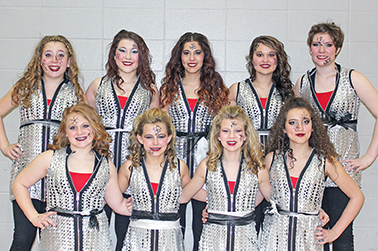 Pictured is the Blackhawks Winterguard team sporting their new uniforms after the Winterguard competition in Coon Rapids, Minn. Back row: Josie Weber, Breanne Brandenburg, Amberiah Smith, McKenzy Peterson and Renee Farmer; front row: Kaylee White, Brooklyn Swenson, Megan Linke and Adriana Salas.