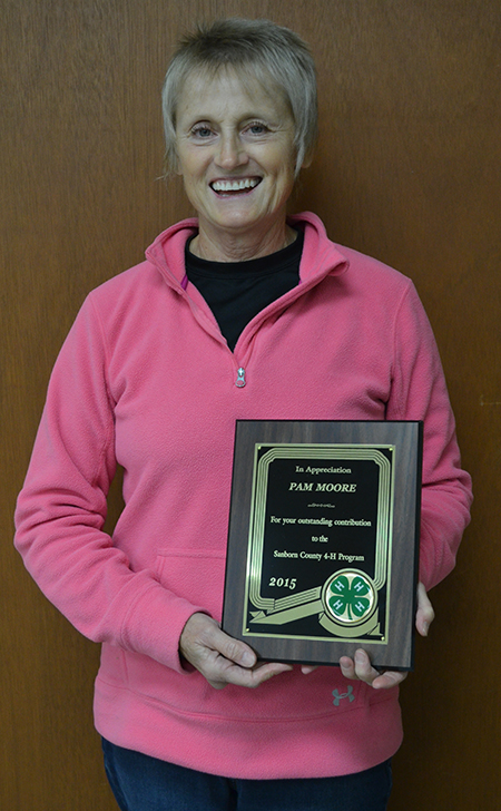 Receiving the Outstanding Contribution to 4-H Award at the 2015 Recognition Event was Pam Moore.