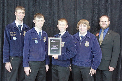 THE SCW FFA Chapter was represented well by the agronomy team that competed at the National FFA Convention.  They brought home a silver team medal in the event, and individual medals as follows:  Jonathan Linke – gold, Aaron Linke – gold, Nathan Linke – silver, Bailey Schmiedt – bronze, pictured with Advisor Mr. Shane Gross.