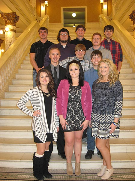 Pictured left to right are, back row:  Garrett Larson, Brady Tiede, Jastyn Ford; fourth row: Mason Dise, Jacob Fouberg; third row: Drae Styles-Blew; second row: Rex Schilcht, Noah Bruce; first row:  McKenzy Peterson, Lacey Christensen and Tayla Weber.