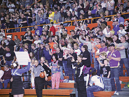 """RETRO NIGHT"" at ""The B's"" shows the many origins of Blackhawk Nation: from the Forestburg Buccs to the Woonsocket Redmen, the Artesian Rams and Letcher Tigers to the Alpena Wildcats… and apparently the Harlem Globetrotters."