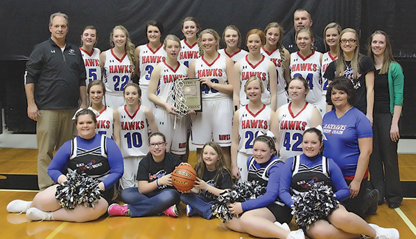 THE DISTRICT 6B Champions for the fifth consecutive year are the Sanborn Central/Woonsocket Lady Blackhawks. Pictured above, in back, left to right: Co-Head Coach Tim McCain, Megan Poyer, Tesa Jensen, Abby Doering, Myah Selland, Sarah Morgan, Sydney Zeller, Co-Head Coach Rob Baruth, Catherine Bechen, Tristan Ziebart, Kayla Olson, Asst. Coach Emily Olson; middle row (standing): Bailey Moody, Tayla Weber, Maddie Vermeulen; second row: Alissa Ball, Abby Vermeulen, Madi Moody, Erica Howard, Cheer Coach Melissa Wormstadt; front row: cheerleader Dayna Opsahl, student managers Jeslynn Moody and Jaycee Baruth, and cheerleaders Aleya Fry and Ashleigh Fry.