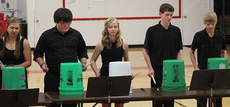 """""""Bucket Jam"""" is presented by Catherine Bechen, Devin Garrett, Bailey Moody, Sawyer Senska and Austin Schmit."""