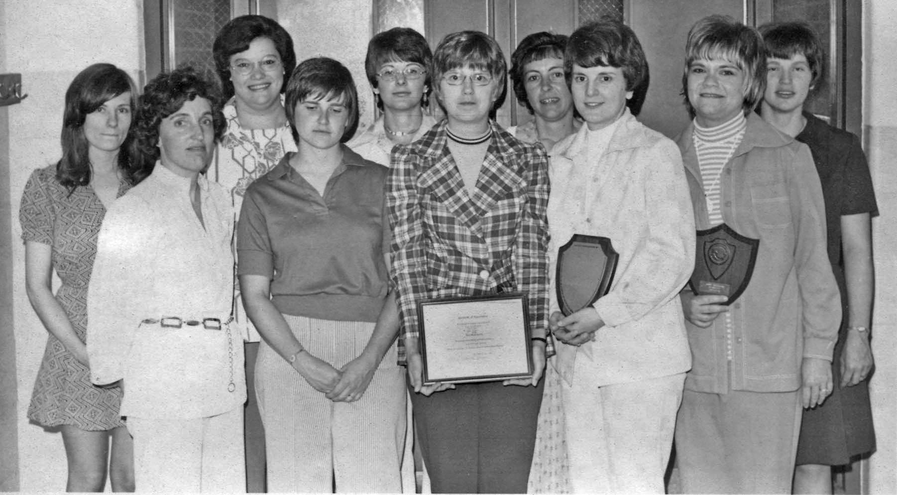 front row: Carol Funk, Cheryl Larson, Pat Merriman, Cathy Hegg and Judy Brisbine; back row: Marla Schlepp, Beatrice Vetter, Mrs. Doug (Sally) Raddershadt, Mary Ann Hopper and Pat Larson-Carsrud.