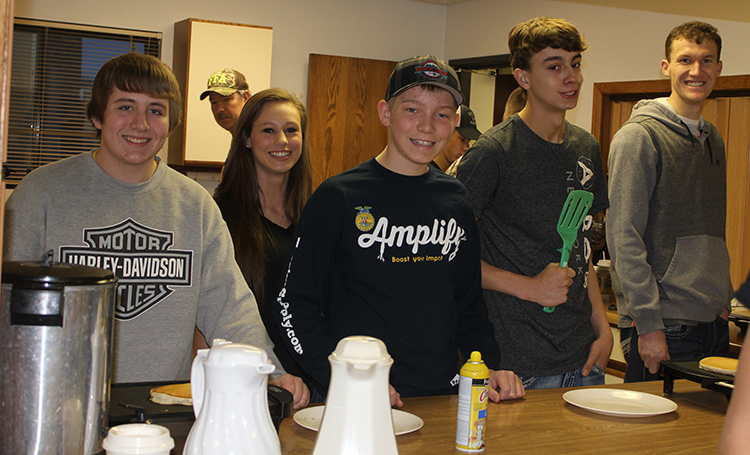 FFA members Bailey Schmiedt, Alissa Ball, Nathan Linke, Jared Goldammer and Wyatt Feistner were part of the SC/W FFA group that prepared and served a community pancake breakfast during the celebration of National FFA Week.