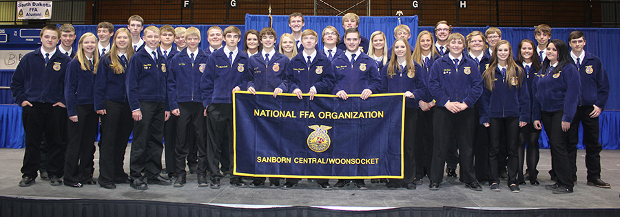 Pictured are the members of the Sanborn Central/Woonsocket  FFA Chapter who attended and competed at the State FFA Convention in Brookings in April: front row – Cody Ruml, Madi Moody, Catherine Bechen, Nathan Linke, Austin Schmit, Alex Wormstadt, Garrett Dean, Trevor Olson, Tyler Johnson, Abby Vermeulen, Bailey Schmiedt, Alissa Ball and Lacey Christensen; back row – Aaron Linke, Sawyer Senska, Royce Hunter, Drew Olinger, Nick Snedeker, Riley Schmiedt, Abby Doering, Sarah Morgan, Wyatt Feistner, Trent Kingsbury, Shaun Snedeker, Tristan Ziebart, Dillon Moore, Sydney Zeller, Garrett Larson, Dayna Opsahl, Ty Ziebart, Callie Bezpaletz, Jared Goldammer and Charlie Enfield.