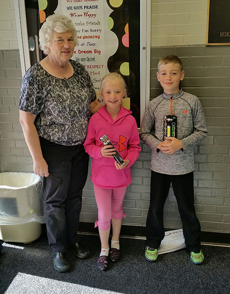 Aiden Lieber, fourth grade and McKenzie Baruth, second grade, received the Star Reading Elementary Award for the 2015-16 school year from Mrs. Pat Carsrud.