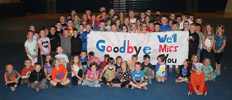 Sanborn Central Elementary School students made Whitney a sign and presented it to her at an assembly Tuesday morning.