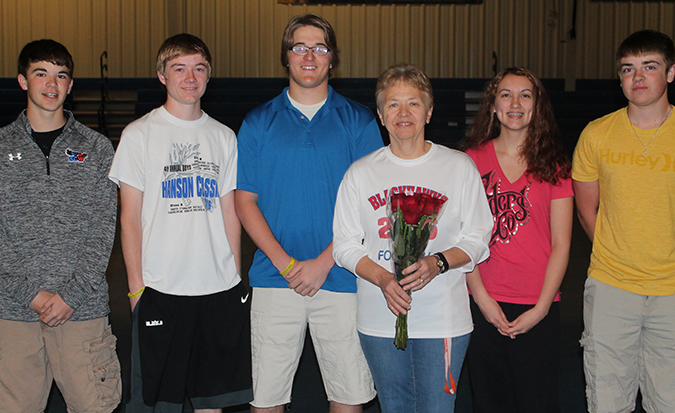 The student council presented flowers to Linda Whitney on Tuesday morning.
