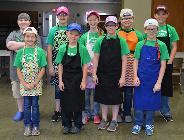 4-Hers participating in Shift 1 of the Special Foods Contest on May 26: back row (left to right):  Henry Hunter, Emily Ohlrogge, Bailey Feistner, Ellie Evans, Brady Larson; front row: Victoria Hoffman, Keaton Fridley, Kenlie Fridley and Michael Hoffman.
