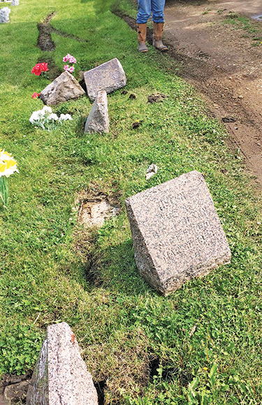 TRACKS ARE visible in the soft ground at Mt. Pleasant Cemetery where an assumed pickup ran over five headstones.