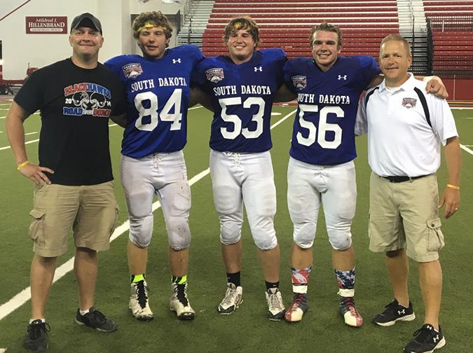 LEFT TO right: Coach Corey Flatten, Chase VonEye, Brady Tiede, Garrett Larson and Coach Jason Kolousek.