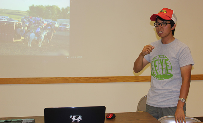 Lance Wu, a 4-H exchange student from Taiwan, gave a presentation about himself and his home country, as well as about the opportunities of the exchange program.