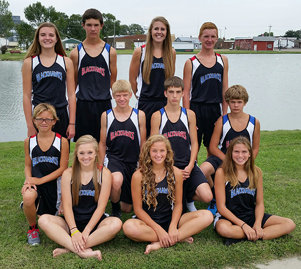 THE FIRST SCW Cross Country team is pictured above, bottom, right to left: Kayla Olson, Sydney Zeller, Trinity Boschee; middle: Braxton Gentles, Austin Schmit, Malachi Bruce, Brayden Eagle; back: Megan Poyer, Tater Moody, Myah Selland, Spens Schlicht. Not pictured: Coach Shelley Schlicht.