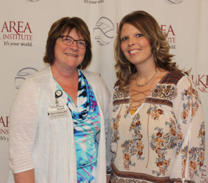 Mary Fouberg, RN, director of resident care services, and Jody Linke, CNA, of Weskota Manor Avera, attended and celebrated the honoring of a Build Dakota Scholarship to Linke at Lake Area Technical Institute.