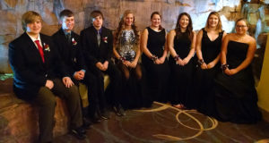 ALL STATE Chorus students from Sanborn Central/Woonsocket were, left to right: Byron Jessen, Aaron Linke, Koby Larson, Sydney Zeller, Ashleigh Fry, Breanne Brandenburg, Renee Farmer and Abigayle Fry. Not pictured is their director, Jenny Easton.