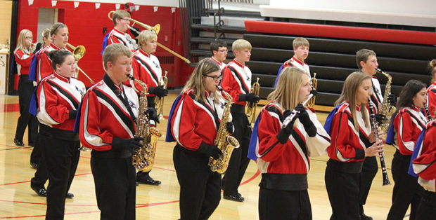 "THE SCW band members, directed by Mr. Brett Kroeger, perform their ""Shut Up and Dance"" marching drill at their annual fall concert."