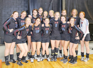 Photo courtesy of South Dakota Public Broadcasting. ©2016 SDPB - THE SIXTH place Class B volleyball team, the Sanborn Central/Woonsocket Blackhawks are, back row, left to right: Erica Howard, Catherine Bechen, Abby Doering, Myah Selland, Sarah Morgan, Tesa Jensen, Tristan Ziebart, Sydney Zeller, Maddie Vermeulen; front row: Madi Moody, Kyla Morgan, Abby Vermeulen, Kayla Olson, Destiny Brick and Alissa Ball.