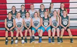 THE LADY Blackhawks seventh and eighth graders are, back row, left to right: Shania Cornelius, Dana Schelske, Ellie Kisor, Brooke Doering, Caycee Guinn, Trista White; front row, left to right: Trinity Boschee, Dayton Easton, Teya Moody, Dilyn Brooks, Morgan Schmiedt, Ellie VonEye, and Cassidy Slykuis.
