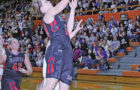 MYAH SELLAND about to score in the 2016 Class B state basketball tournament.