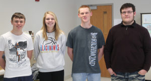 PICTURED ARE Sanborn Central Business Plan Competition finalists, left to right: Weston Baysinger, Sarah Morgan, Aaron Stevens and Quentin Schmidt. Their advisor is Corey Flatten.