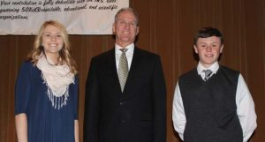 Sarah Morgan and Weston Baysinger pictured with Gov. Daugaard at the reception.