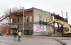 THE OLD Masons building on Woonsocket's Dumont Avenue was razed Monday morning after it was declared unsafe and a nuisance by the Woonsocket City Council. Feistner Excavation was contracted to perform the demolition.