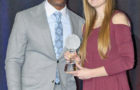 MYAH SELLAND, the South Dakota girls basketball Player of the Year, was presented her award by former Detroit Piston Chauncey Billups.