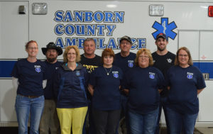 PICTURED ARE, front row: Gena Swenson, Marla Feistner, Gay Lynne Ames, Kathy Wingert, Sherryl Rankin; back row: Aaron Fink, David Swenson, Jim VanDenHemel, Neal Hiemstra; EMTs not pictured: Stephen Davis and Jodi Doering. Drivers not pictured: Kylie Forbes, Garrett Foos, Darin Kilcoin and Heather Westendorf.