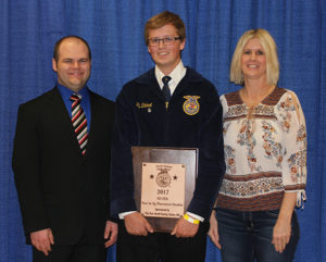 TY ZIEBART was named as a finalist for State Star in Placement. Pictured, left to right, are: Mr. Gross, Ty Ziebart and Tami Ziebart.