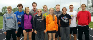 STATE TRACK qualifiers are pictured above, back row, left to right: Jared Goldammer, Wyatt Feistner, Myah Selland, Logun Feistner, Spens Schlicht, Megan Poyer; front row, left to right: Austin Schmit, Caycee Guinn, Taylor Lindsey, Ellie Von Eye and Trinity Boschee. Not pictured: Trey Weber.