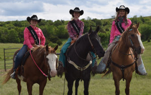 PICTURED, LEFT to right, are Foothills Princess Delaney Zoss, Foothills Jr. Rodeo Queen Bailey Feistner and Foothills Rodeo Queen Payton Johanneson.
