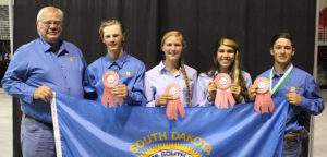 The South Dakota 4-H Air Pistol team placed third nationally. This team placed in the top four in each phase of the competition. Team members pictured include: (left to right) coach, Arthur Kneen, Sanborn County; Wade McClanahan, Tripp County; Cassandra Ryckman, Hughes County; Katrina Fatherlos, Union County, and Carter Trefz, Faulk County.