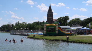 THE CENTER of the Water Festival action, Lake Prior handles the crowds with ease. Tuesday the Fourth included bouncy houses for the kids, a volleyball and jamball tournament, fishing and plenty of socializing and of course, swimming and cooling off — in the pool and the lake itself.